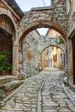 Типичная улица в связке или Valle в Хорватии Стоковое Фото