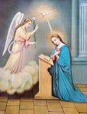 Типичное католическое изображение аннунциации от Словакии от конца 19 цент Стоковая Фотография RF