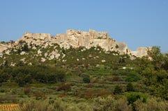 Типичные ландшафты Les-Baux-de-Провансали стоковые изображения rf