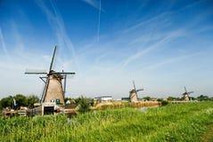 Типичные ветрянки в Голландии Стоковое Изображение