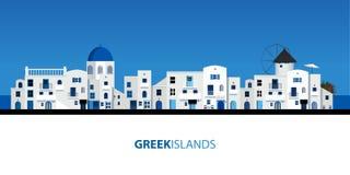 Типичные греческие дома острова Голубое небо и море на предпосылке иллюстрация штока