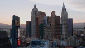 Типичные здания гостиницы NY NY в Лас-Вегас - США 2017 сток-видео
