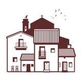 Типичные испанские деревня, колокольня, аист и птицы на небе Стоковое Изображение RF