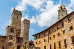 Типичные дома башни San Gimignano, Италии Стоковое Изображение