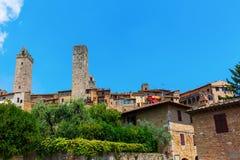 Типичные дома башни San Gimignano, Италии Стоковая Фотография RF