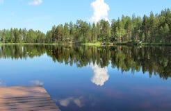 Типичные финские дома в древесинах приближают к озеру Стоковое Фото