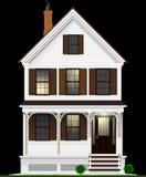 Типичный и классический американский дом сделанный из древесины покрашенной с белой краской 2 пола, подвал и чердака причаленный  Стоковая Фотография