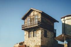 Типичный дом в древнем городе Nessebar, Болгарии стоковые фотографии rf