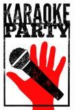 Типографский ретро плакат партии караоке grunge также вектор иллюстрации притяжки corel Стоковое Изображение RF