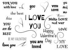 Типографский текст дизайна установленный на день валентинки Современные элементы для дела, знамени или украшения Стоковая Фотография RF