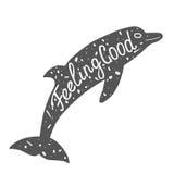 Типографский ярлык дельфина Стоковые Изображения RF