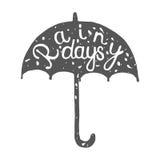 Типографский ярлык зонтика Стоковое фото RF