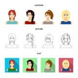 Типы женского шаржа стилей причёсок, плана, плоских значков в собрании комплекта для дизайна Возникновение символа вектора женщин Стоковые Изображения RF