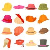 Типы значки шляпы установили головной убор, стиль шаржа Стоковая Фотография RF