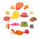 Типы значки шляпы установили головной убор, стиль шаржа Стоковое Изображение