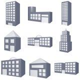 типы зданий различными установленные иконами Стоковая Фотография RF