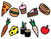 Типы комплект еды шаржа значка Стоковые Изображения