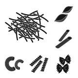 Типы макаронных изделий чернят значки в собрании комплекта для дизайна Вычисляемая макарон для сети запаса символа вектора еды иллюстрация вектора
