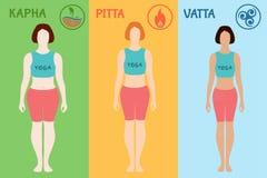 Типы телосложения Ayurvedic doshas Ayurveda: vata, pitta, kapha Стоковое фото RF