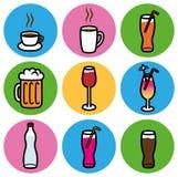 Типы установленные значки питья ресторан бара Стоковое Фото