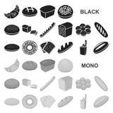 Типы хлеба чернят значки в собрании комплекта для дизайна Иллюстрация сети запаса символа вектора продуктов хлебопекарни иллюстрация вектора