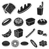 Типы хлеба чернят значки в собрании комплекта для дизайна иллюстрация вектора
