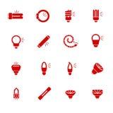 Типы электрических лампочек для разных видов освещений как значки глифа Стоковое фото RF