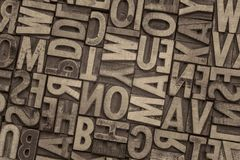 Тип блоки винтажного Letterpress деревянный печатания Стоковое Изображение