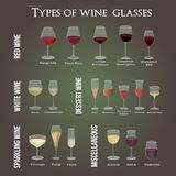 Тип бокалов Для вин красно-, бело-, пустыни и разносторонних иллюстрация штока