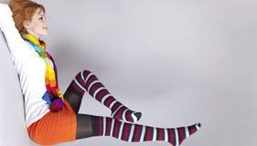 тип девушки цвета 90s с волосами красный стоковое изображение rf