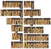 тип древесина месяца letterpress Стоковые Фотографии RF