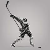 тип игрока хоккея графиков пожара конструкции компьютера 2d backgroound черный Стоковое фото RF