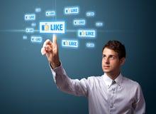 тип икон бизнесмена самомоднейший отжимая социальный Стоковое Изображение RF