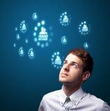 тип икон бизнесмена самомоднейший отжимая социальный Стоковое Фото