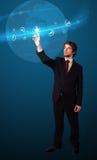 тип икон бизнесмена самомоднейший отжимая социальный Стоковые Фото
