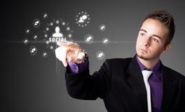 тип икон бизнесмена самомоднейший отжимая социальный Стоковые Фотографии RF
