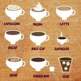 Тип меню кофе смешного Стоковые Изображения