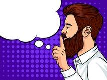 Тип молодого красивого парня европейский держа палец к его рту Иллюстрация вектора