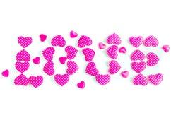 тип слово влюбленности letterpress grunge предпосылки случайный Стоковая Фотография RF