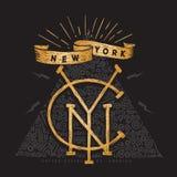 Тип типографское графиков тройника печати моды одеяния футболки Нью-Йорка изготовленный на заказ дизайна нарисованное рукой Иллюстрация вектора
