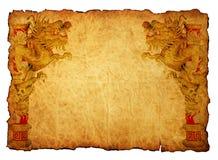 тип 2012 золота дракона предпосылки китайский Стоковое Фото