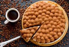 Тирамису торта с кофе эспрессо Стоковые Фотографии RF
