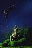Тиранозавр воюя с доисторической летящей птицей Стоковое Изображение