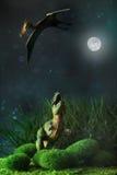 Тиранозавр воюя с доисторической летящей птицей Стоковая Фотография RF