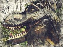 Тиранозавр Rex, T-REX Abstr картины маслом Impasto искусства цифров стоковое фото rf