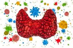 Тироидная железа с вирусами и бактериями Концепция заболеванием тиреоида, перевод 3D иллюстрация вектора