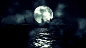 Титаническое плавание корабля в море на ноче полнолуния