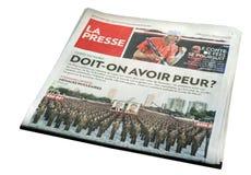 Титульный лист газеты Presse Ла Монреаля Стоковые Изображения RF