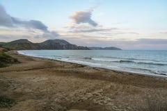 Тихая бухта на заходе солнца, Koktebel, Крым Стоковая Фотография