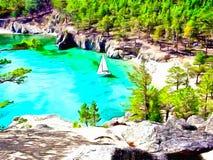 Тихие бухта и шлюпка на ей Крутые скалистые берега озера горы иллюстрация вектора